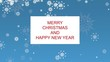 Merry Christmas and New Year greeting text with animated snowflakes against blue background. Greeting card, holiday banner, web poster