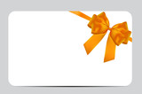 Blank Gift Card Template with Orange Bow and Ribbon. Vector Illustration for Your Business