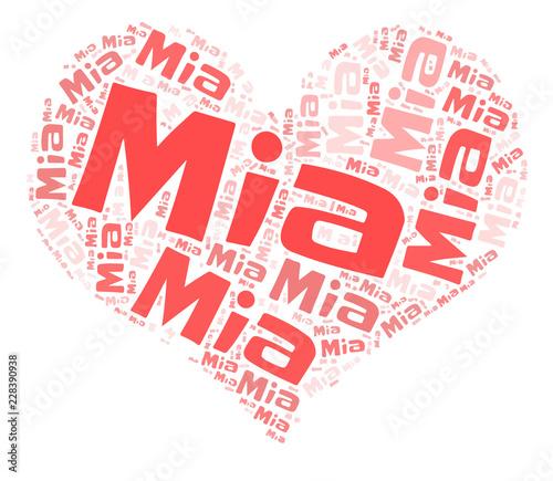 Mia word cloud in heart shape Canvas Print