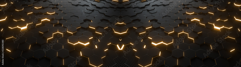 Fototapety, obrazy: Abstract hexagonal geometric ultra wide background. Structure of lots of hexagons of carbon fiber with bright energy light breaking through the cracks. 3d rendering