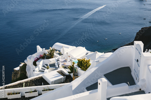 Poster de jardin Santorini Sea view and white terrace, Santorini