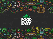 Food Day Card Of Outline Fruit And Vegetable Icons