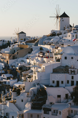 Poster Light pink View of beautiful village of Oia, Santorini, Greece