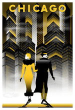 Once Upon A Time In Night In Chicago. Handmade Drawing Vector Illustration. Retro Poster. Art Deco Style.