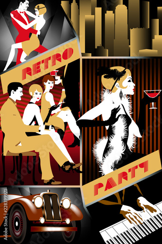 retro-party-invitation-card-vector-set-of-6-various-parts-flapper-girl-new-york-cityscape-pianoman-dancing-couple-retro-car-party-handmade-drawing-vector-illustration-art-deco-style