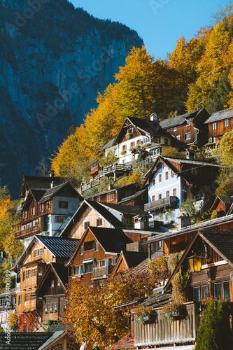 Fotobehang Centraal Europa Hallstatt in fall, Salzkammergut, Austria