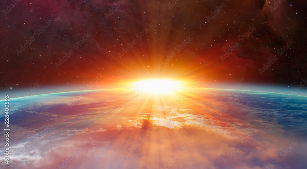 Fotografie, Obraz Planet Earth with a spectacular sunset Elements of this image furnished by NASA