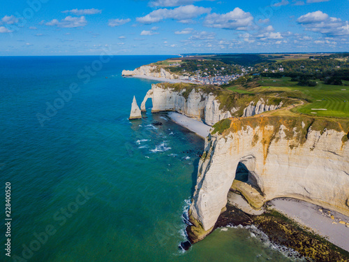 Fotografia Aerial drone photo of the pointed formation called L'Aiguille or the Needle and
