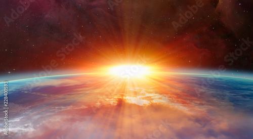 Tablou Canvas Planet Earth with a spectacular sunset Elements of this image furnished by NASA