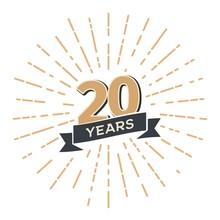 20 Th Anniversary Retro Vector...