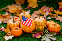 Group Of Pumpkins And American Flag On Green Lawn