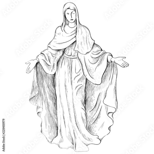 Fotografia The Vector God's Mother  for T-shirt design or outwear Orthodox.