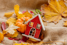 Orange Pumpkin With Wooden House And Leaves