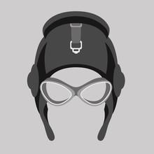 Aviator Helmet  Vector Illustration Flat Style  Front