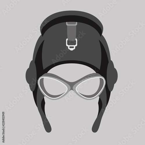 Photographie aviator helmet  vector illustration flat style  front