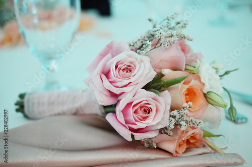 Rose Flower Bouquet For Bridesmaid Pastel Pink And Orange Wedding