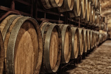 Large Wooden Barrels In Wine Cellar, Closeup