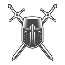 Vintage Medieval Knight Emblem With Crusader Helmet And Swords Isolated Vector Illustration