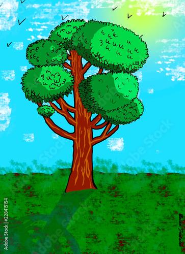 Papiers peints Turquoise arbre sur tablette graphique