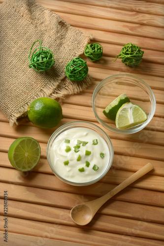 yogurt with lime juice with fruits around