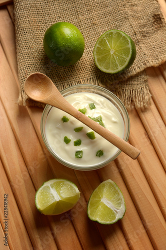 yogurt with lime juice with fruits around