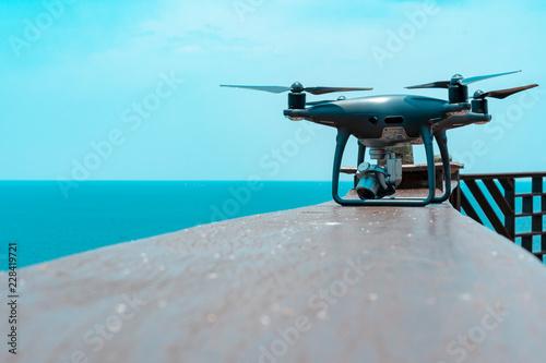 Printed kitchen splashbacks Fishing drone quadcopter with digital camera