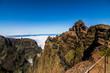 Trekking from Pico do Arieiro to Pico Ruivo, Madeira island, Portugal. Road to clouds.