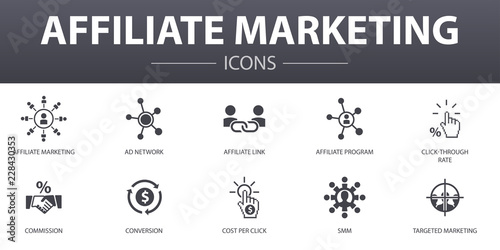 affiliate marketing simple concept icons set Wallpaper Mural