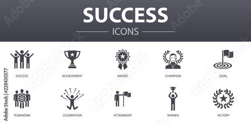 Photo  success simple concept icons set