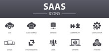 SaaS Simple Concept Icons Set. Contains Such Icons As Cloud Storage, Configuration, Software, Database And More, Can Be Used For Web, Logo, UI/UX