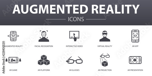 Augmented reality simple concept icons set Wallpaper Mural