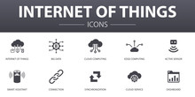 Internet Of Things Simple Concept Icons Set. Contains Such Icons As Dashboard, Cloud Computing, Smart Assistant, Synchronization And More, Can Be Used For Web, Logo, UI/UX