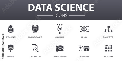 Photo Data science simple concept icons set