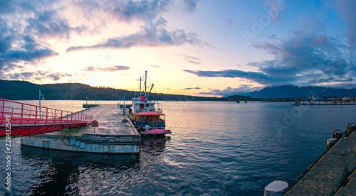 Plakat Panoramiczny widok Portowy Alberni dok w Vancouver wyspie, BC, Kanada