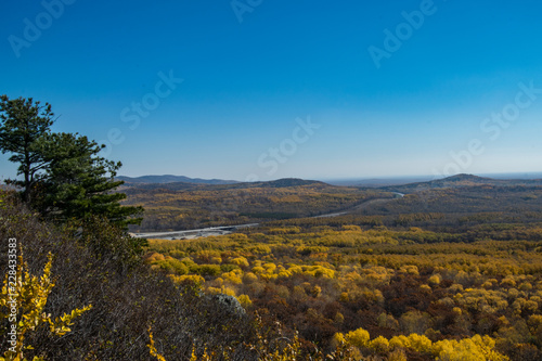 Foto op Plexiglas Grijze traf. the mountain autumn landscape with colorful forest