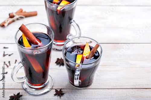 Fotografie, Obraz  Mulled wine with cinnamon sticks and orange