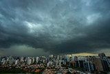 Fototapeta Nowy Jork - The storm is coming. Hurricane. Ground and sky. Cityscape. Sao Paulo city landscape, Brazil South America.