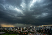 The Storm Is Coming. Hurricane. Ground And Sky. Cityscape. Sao Paulo City Landscape, Brazil South America.