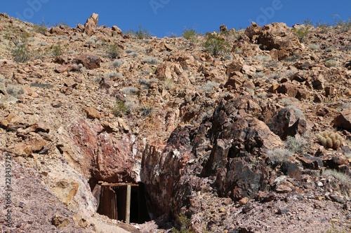 Abandoned Mine Shaft in Desert Mountains - Buy this stock