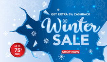 Winter Sale Banner Template With Snow Flakes, Ice Shards For Shopping Sale. Banner Design. Poster, Card, Label, Web Banner. Vector Illustration