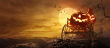 Halloween Pumpkins On Farm Wagon Going Through Stretched Road Grave To Castle Spooky In Night Of Full Moon And Bats Flying