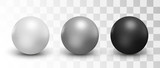 Set of vector spheres and balls on a white background