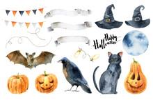 Watercolor Set Elements For Halloween