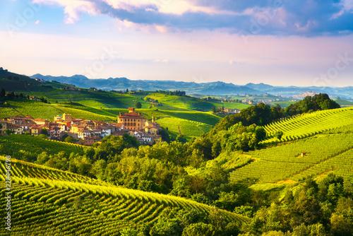 Langhe vineyards panorama, Barolo village, Piedmont, Italy Europe Fotobehang