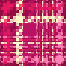 Seamless Plaid Check Pattern In Shades Of Pink, Maroon And Cream.