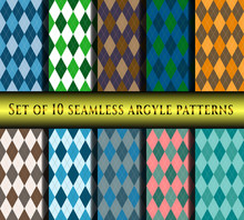 Set Of Seamless Argyle Plaid P...