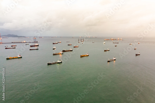 Aerial view of sea freight at sun rise, Crude oil tanker lpg