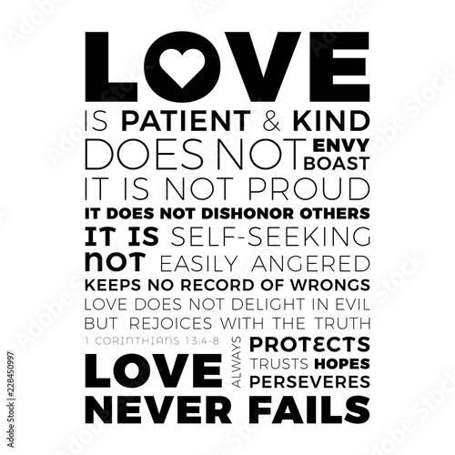 Fotografija Biblical phrase from 1 corinthians 13:8, love never fails