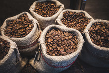 Coffee Beans In Bags. Fresh Co...