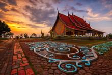 Sunset Scene Of  Wat Sirindhorn Wararam Or Wat Phu Prao,Buddhist Temple In Ubon Ratchathani Province,Thailand
